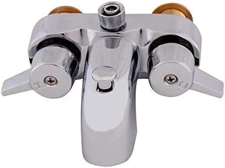 EZ-FLO 11129 Two-Handle Add-On Shower Diverter Bathcock, 3-3 8-inch Centers, 3 4-inch MIP inlet, Chrome