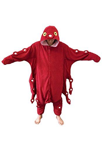 [Octopus Kigurumi - Adult Costume] (Red Octopus Pajama Costumes)