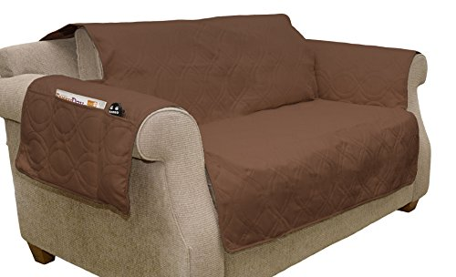 Furniture cover, 100% Waterproof Protector Cover for Love Seat by PETMAKER, Non-Slip, Stain Resistant, Great for Dogs, Pets, and Kids - Brown