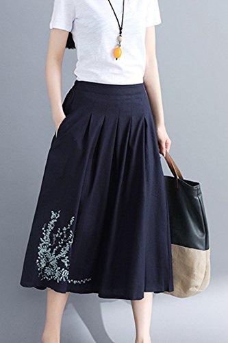 Longue Maxi Floraux avec Poches Portion Broderies Taille Femmes Jupe Blue des De Les wRqATxq