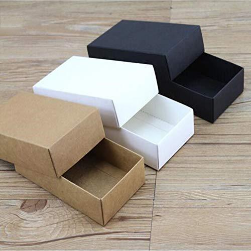 Ranggrgt 10Pcs White Kraft Paper Gift Cardboard Box Craft Packaging Box Black Paper Gift Box with Lid Gift Carton Cardboard Box 340x220x48mm White
