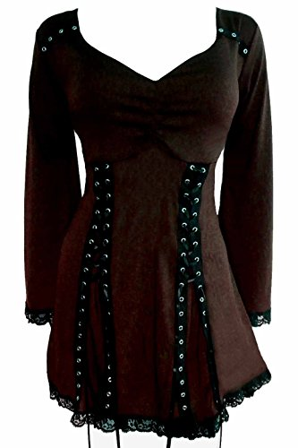 Dare to Wear Electra Corset Top: Victorian Gothic Steampunk Plus Size Women's Shirt for Everyday Halloween Cosplay Festivals, Walnut 1X