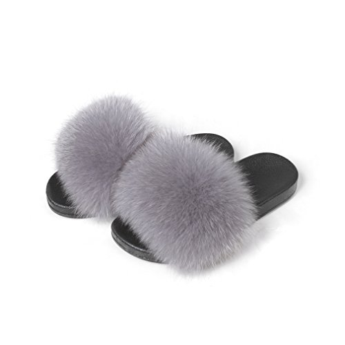 Fur Story Women's Fox Fur Slides Furry Slide Sandal for Outdoor(7,Gray) ()