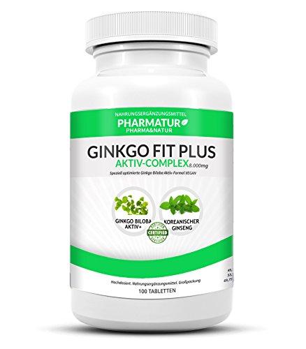 Ginkgo Biloba Aktiv+ Formel nach klinischer Stärke mit 8.000mg Tagesdosis. Die #1 von Pharmatur Deutschland. Angereichert mit koreanischem Ginseng. Vegane Tabletten
