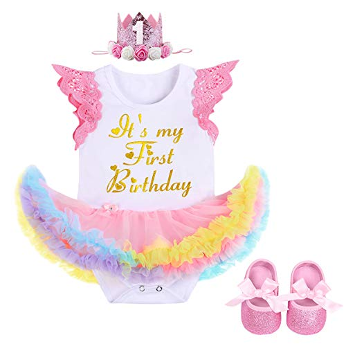 1st Birthday Party Baby Girl Princess Outfits Lace Sleeve Onesie Tutu Dress Glittering Tiara Headband Shoes Clothes 3pcs Set Photography Prop 6-12 -