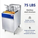 Premium Commercial Deep Fryer - KITMA 75 lb. Natural Gas 5 Tube Floor Fryer with 2 Fryer Baskets - Restaurant Kitchen Equipment for French Fries, 170,000 BTU/h