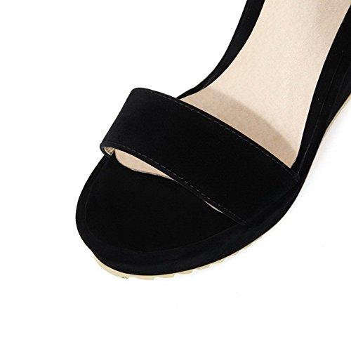 Sólido Cuero Abierta Puntera Velcro Mujeres Plataforma Negro Sandalia AllhqFashion UwqXB7xcpO