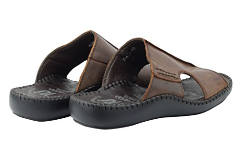Pour Homme En Cuir Véritable Marron Sangle d'été à bout ouvert glisser sur sandales Plage chaussons