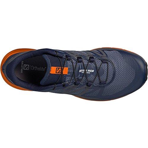 Salomon Men's Sense Ride Trail Running Shoes, Navy Blazer, Bright Marigold, Ombre Blue, 11.5 D(M) US