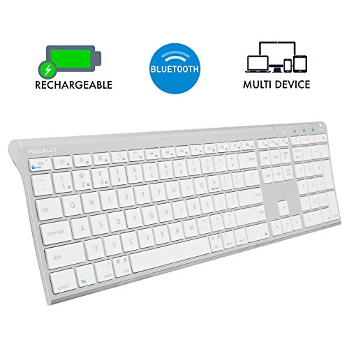 Macally Wireless Bluetooth Keyboard with Numeric Keypad for Laptops, Computers (Apple: Mac, iMac, MacBook Pro/Air, iOS, iPhone, iPad | Windows: PC and Android), Smartphones, Tablets (Aluminum Silver)