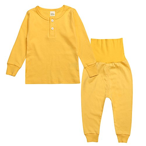 Yellow Long Sleeve Pajamas - Little Boys Girls 2PCS Yellow White Grey Pink Green Soft Solid Pajama 2-6Years