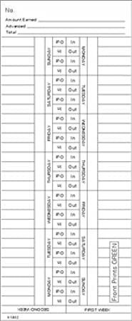 TCS 1000 ct Side-Feed 1st Half 1-15 Time Cards FORM K14278