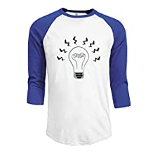 X112 Men's Couple 3/4 Sleeve T Shirt Light Bulb Flashes Black