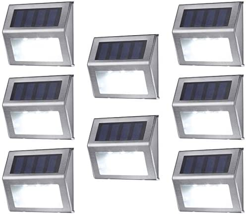 Solar Deck Lights, MEIHONG Stainless Steel Solar Accent Lights Outdoor Waterproof, LED Solar Powered Deck Lights, Solar Step Lights, Patio Solar Stair Lights, Solar Outdoor Lights Wall Mount 8 Pack