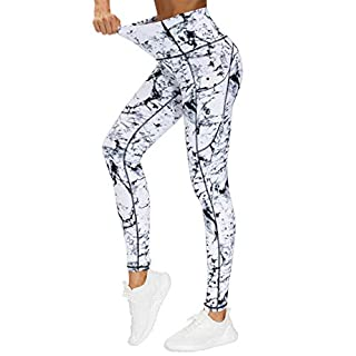 THE GYM PEOPLE Thick High Waist Yoga Pants with Pockets, Tummy Control Workout Running Yoga Leggings for Women (Small, Marble)