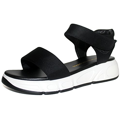 Talon Antideslizante Paño Fondo Ocio Grueso de Pretty Cm Confortable KPHY Plano Joker Sandalias Fondo 4 Plano black mujer Zapatos Fondo Simple Suave wTBvqg