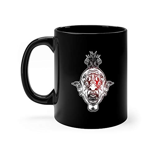 Devil Head Nightmare Inspired Satanic Influence Punk Face With Mohawk Dark Twist Gesture Possessed By Demon Ro Creepy Horror Evil Scary Tea Mugs Cup Ceramic 11 Oz ()