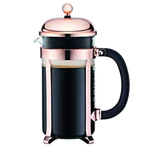 Bodum CHAMBORD Coffee Maker, French Press Coffee Maker, Copper Classic Collection, Glass, 34 Ounce (8 Cup)