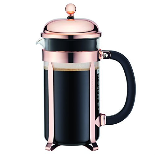 - Bodum Chambord French Press Coffee Maker, Glass, 34 Ounce, 1 Liter, Copper