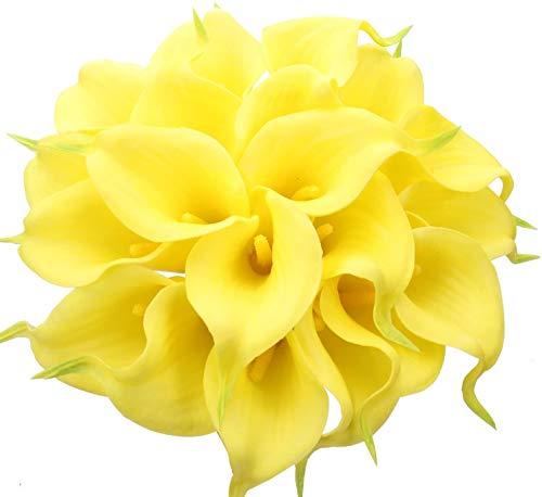 Tifuly 24 Piezas de Lirios Artificiales de latex, Ramos de Flores Falsos de Lirio de Tallo Realista para el hogar, Bodas, Fiestas, decoracion de oficinas, arreglos Florales (Amarillo)