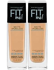 Maybelline New York Fit Me Matte + Poreless Liquid Foundation Makeup, Nude Beige, 2 Count