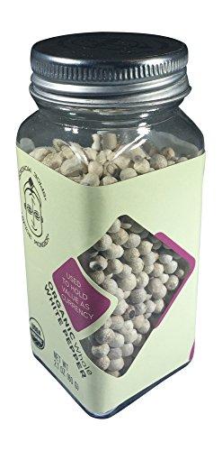 Spice Monger Organic White Peppercorns, Whole USDA Certified, fresh