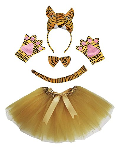 Petitebella 3D Headband Bowtie Tail Gloves Tutu Unisex Children 5pc Girl Costume (3D Tiger) -