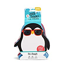 Fit & Fresh Cool Coolers, Slim Ice Packs for Lunch Boxes, Bags and Coolers, Penguin Shapes for Kids, Set of 4, Multicolored
