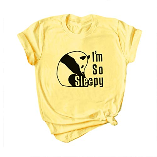 Answerl I'm So Sleepy Short Sleeve T-Shirt Women Beach Funny Panda Pattern Print Summer Tops Tees Casual Loose Blouse Yellow