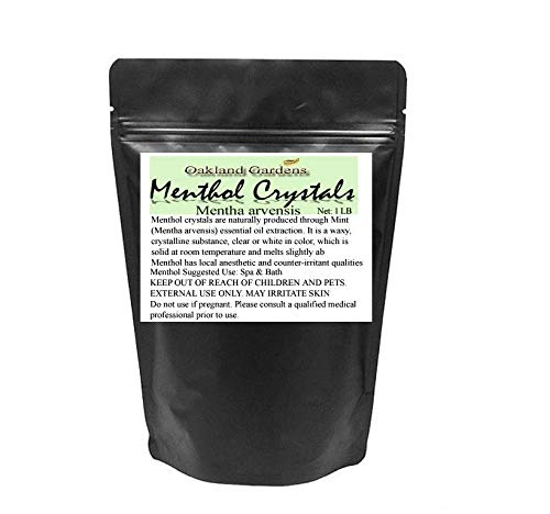 1 LB Premium Menthol Crystals - 100% Natural Menthol Crystals - Soothing & Cool Aromatherapy & Tension Relief - By Oakland Gardens (Menthol Crystals 1 LB)