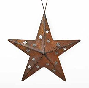 Amazon Group of 6 Rusty Tin Patina Star Ornaments