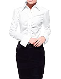 Allegra K Women Single Breasted Long Sleeves Ruched Front Shirt