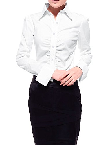 Allegra K Women Ruched Front Buttoned Shirt