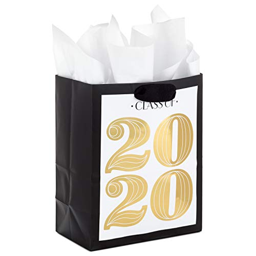 Hallmark 9″ Medium Class of 2020 Graduation Gift Bag with Tissue Paper (Gold and Black)
