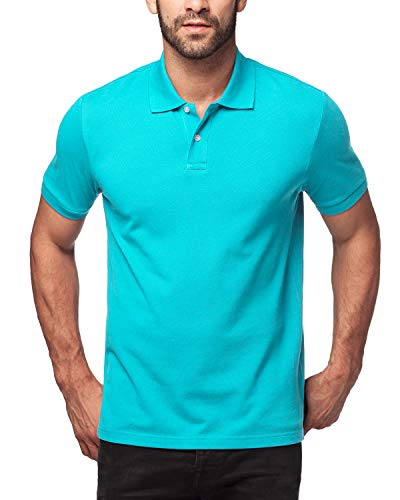 - LAPASA Polo Shirt for Men, 100% Cotton, Piqué Knitted Fabric (no Jersey). Longer Back-Hem, Short Sleeve M19 (S/April 9.99/See Chart, Modish Turquoise)