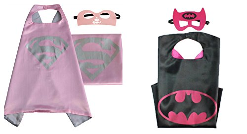 Athena Dress Up Supergirl & Batgirl 2 Capes, and 2 Masks Gift Box Included