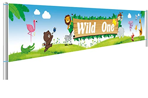(Colormoon Large Safari Animal Wild One Birthday Banner | Tribal Animals, Jungle Animals, Woodland Animals Birthday Party Supplies Decorations| 1st Birthday Shower)