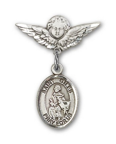 Icecarats Créatrice De Bijoux En Argent Sterling St. Giles Charme Ange Pin Badge 7/8 X 3/4