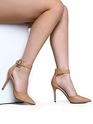 Ankle Strap Pointed Toe High Heel Pump