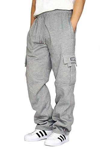 - DREAM USA Men's Heavyweight Fleece Cargo Sweatpants, Grey, Large
