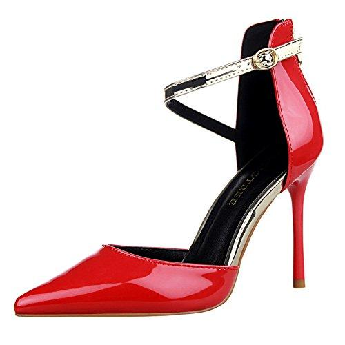 Cinghia Sandalo Di Alto 66 Dalla Rosso Della Tacco Campagna Delle Vestito Del Caviglia Donne Pompa No rqwrPgY