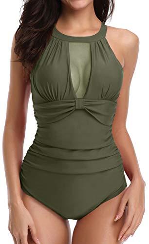 Chaos World Womens One Piece Swimsuits Monokini Tummy Control Swimwear High Neck Halter(XL Army Green) ()