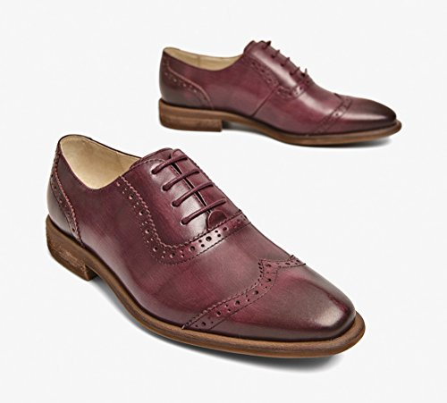 Honeystore Damens Retro Brogues Carving British Oxford Shoes Echtes Leder Oxford Smoking Schuhe Lace-up Loafers Flats Einzelschuhe Burgundy