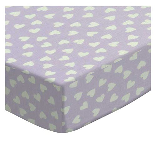 SheetWorld Fitted Cradle Sheet - Hearts Pastel Lavender Woven - Made In USA