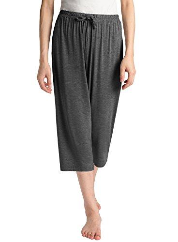(Latuza Women's Knit Capris Sleepwear L Dark Gray)