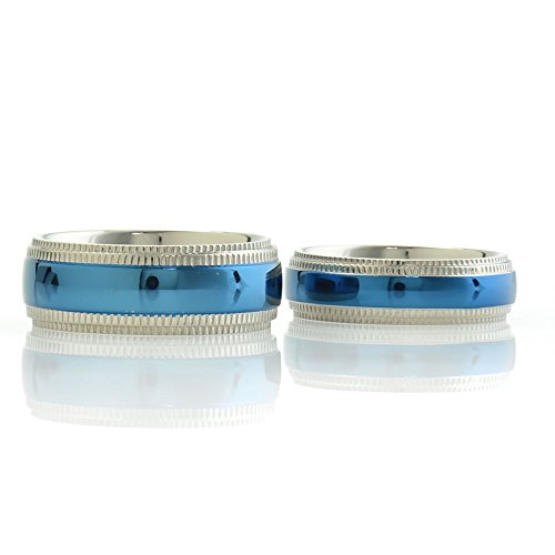 Blue Titanium His & Hers Engagement Wedding Ring Sets Silver Checkered Step Edge Checkered Band Ring