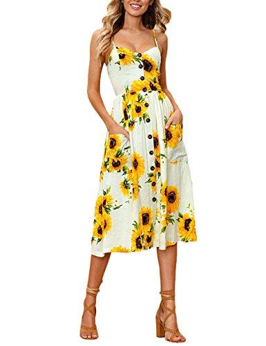14e9277539a281 Sommerkleider Damen Elegant Strandkleider Strapsgürtel Rückenfrei Trägerlos  Swing Midi Kleid Bohemian Mode Blumen Locker Casual Urlaub