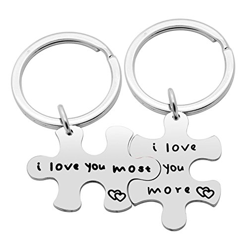 2pcs Couple Key Chain Set Valentine Gifts - I Love More,I Love You Most - Puzzle Stainless Steel