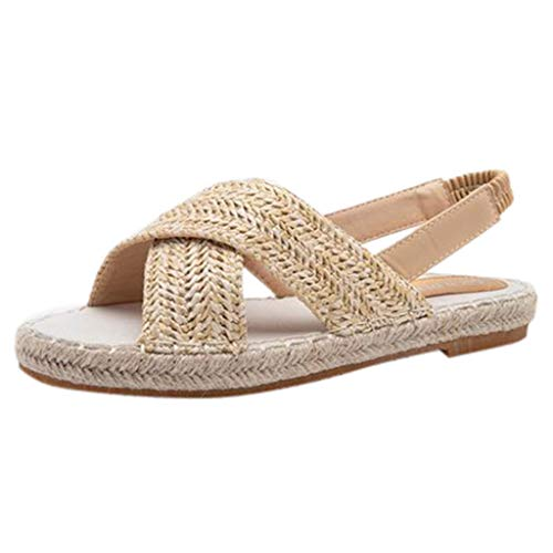 Straw Sandals for Women,Flat Espadrilles Criss Cross Woven Slippers Boho Fisherman Sandal (US:6.5, Khaki) -