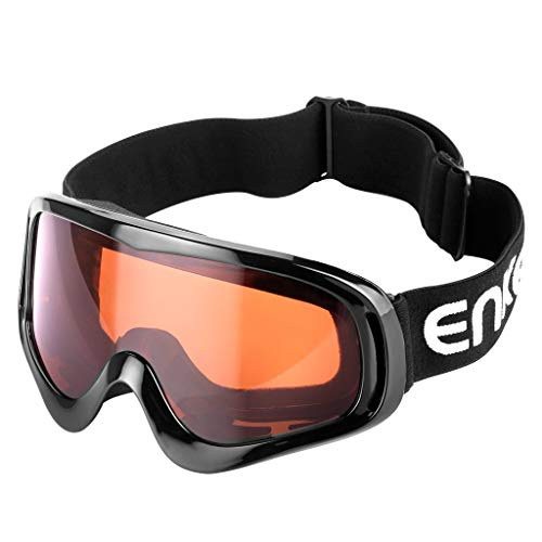 Enkeeo Motorcycle Goggles Anti-Scratch Cycling Googles Dust Proof Bendable Eyewear with Padded Soft Foam, Adjustable Strap for Adults Cycling Skiing Climbing Shooting (Orange Lens)